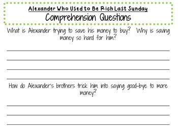 Alexander Who Used to Be Rich Last Sunday: by Judith Viorst:  Literature Study