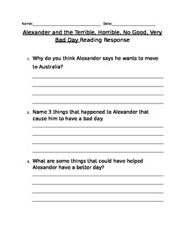 Alexander and Terrible, Horrible, No Good, Very Bad Day written response