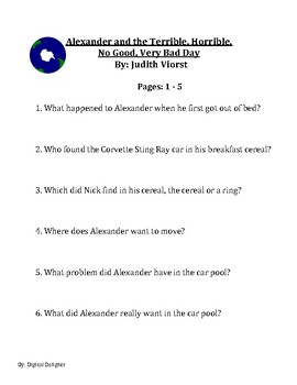 Alexander and the No Good, Very Bad Day Reading Comprehension Questions