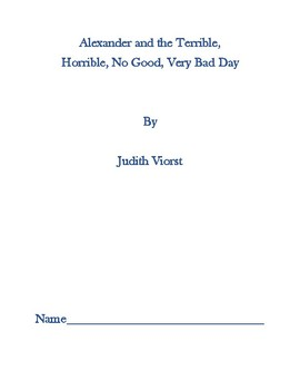 Alexander and the Terrible, Horrible, No Good, Very Bad Day - A Book Study