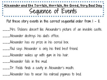 Alexander and the Terrible, Horrible, No Good, Very Bad Day Activities