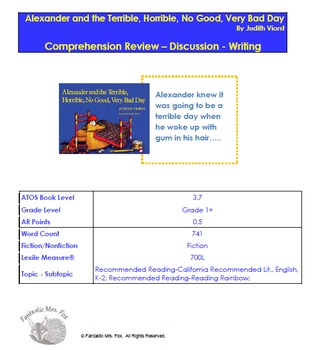 Alexander and the Terrible, Horrible, No Good, Very Bad Day Assessment Pack