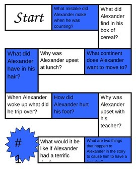 Alexander and the Terrible, Horrible, No Good, Very Bad Day Game Board