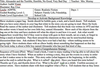 Alexander and the Terrible Horrible No Good Very Bad Day Lesson First Grade