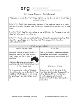 At Home Reader Enrichment-Alexander & the Terrible Horrible No Good Very Bad Day