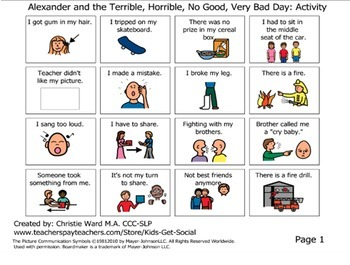 Alexander and the Terrible, Horrible, No Good, Very Bad Day: Social Skills