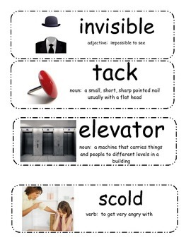 Alexander and the Terrible, Horrible, No Good, Very Bad Day Vocabulary Cards