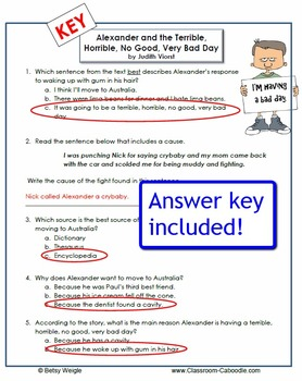Alexander and the Terrible, Horrible, No Good, Very Bad Day Worksheets