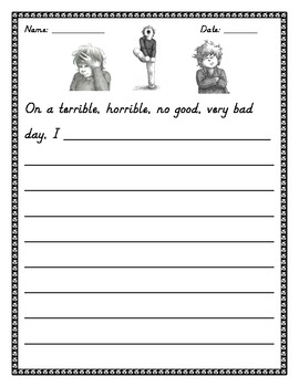 Alexander and the Terrible, Horrible, No Good, Very Bad Day Writing Prompt