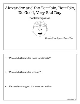 Alexander and the Terrible, ... Very Bad Day Book Companion and Worksheets