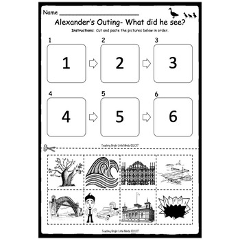 Alexander's Outing Worksheets- Sequencing, Numbers and Labelling
