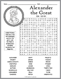 Alexander the Great Activity - Word Search Worksheet