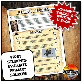Primary Source Activity Alexander the Great Common Core Writing and Literacy