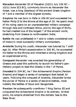 Alexander the Great Crossword