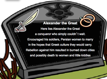 Alexander the Great: Epitaph Assessment with Primary Source Handouts & Rubric