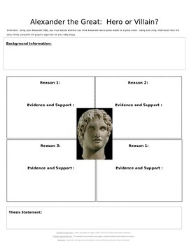 dbq alexander the great hero or villain graphic organizer by history in heels. Black Bedroom Furniture Sets. Home Design Ideas