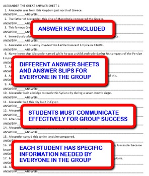 Alexander the Great: Interdependent Answer Sheets Activity