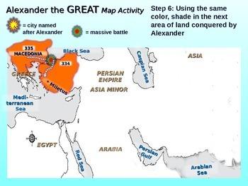 """Alexander the Great"" Map Activity: Fun, engaging follow-along 30-slide PPT"