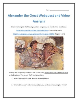Alexander the Great- Webquest and Video Analysis with Key