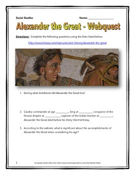 Alexander the Great - Webquest with Key (History.com)