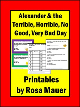 Alexander & the Terrible Horrible No Good Very Bad Day Book Unit