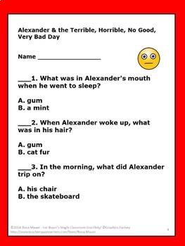 Alexander & the Terrible Horrible No Good Very Bad Day Activities