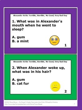 Alexander & the Terrible Horrible No Good Very Bad Day Activities