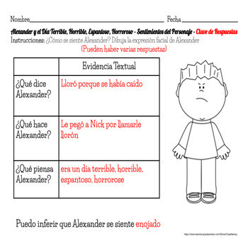 Spanish Reading Comprehension - Alexander y el Día Terrible, Horrible, Espantoso