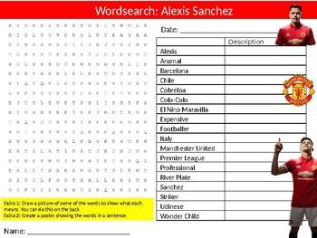Alexis Sanchez Wordsearch Puzzle Sheet Keywords Football Sportsman Sport