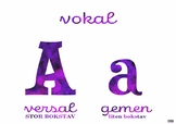 Alfabetet med versaler och gemener, vokaler och konsonanter (svenska)