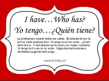 I have ... Who has?: Spanish Alphabet Initial Sounds - Yo