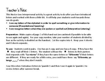 Alfabeto: Lo mismo o diferente - An Interpersonal Spanish Alphabet Activity