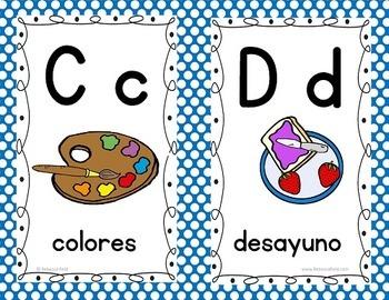 Spanish Alphabet Wall Cards BLUE