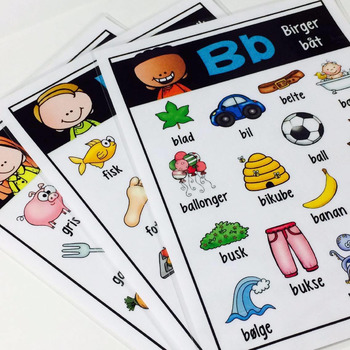 Alfabetplakater med tilhørende elevbok (BM)