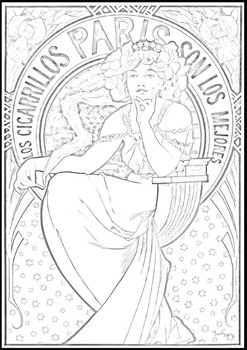 Alfons Maria Mucha: Coloring worksheet