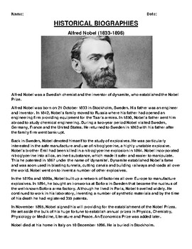 Alfred Nobel  Biography Article and (3) Assignments