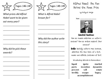 Alfred Nobel Trifold - ReadyGen 2016 2nd Grade Unit 6 Module B (Anchor Text)