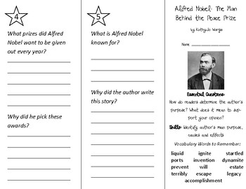 Alfred Nobel Trifold - ReadyGen 2nd Grade Unit 6 Module B (Anchor Text)