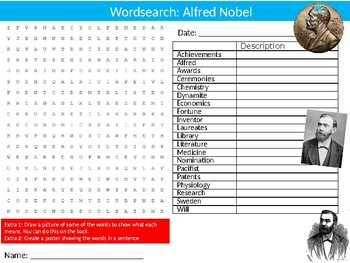Alfred Nobel Wordsearch Puzzle Sheet Keywords Famous Peace Prize