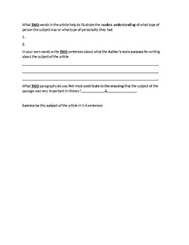 Alfred the Great Biography Article and Assignment Worksheet