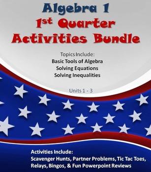 Alg 1 -- 1st Quarter Fun Reviews & Activities Bundle