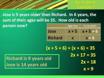 Alg 1 -- Age Problems (Polynomial Word Problems)