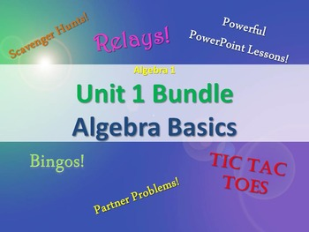 Alg 1 -- Unit 1: Algebra Basics Bundle -- Lessons & Fun Reviews