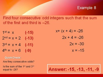 Alg 1 -- Consecutive Integer Problems (Polynomial Word Problems)