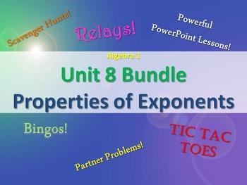 Alg 1 -- Unit 8: Exponents Bundle -- Lessons & Fun Reviews