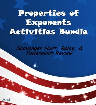 Alg 1 -- Exponents Fun Reviews & Activities Bundle
