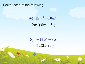 Alg 1 -- Factoring Greatest Common Factors