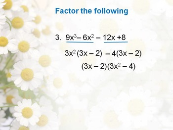 Alg 1 -- Factoring Quadratics Using Grouping