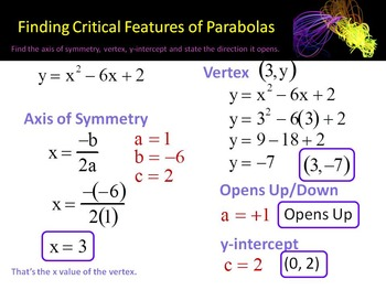 Alg 1 -- Finding the Vertex & Axis of Symmetry of a Parabola