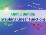Alg 1 -- Unit 5: Graphing Linear Functions Bundle -- Lessons & Fun Reviews
